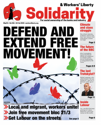 "Image of the front cover of the newspaper, reading ""Defend and Extend Free Movement"""