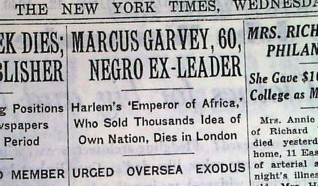 Report of Garvey's death
