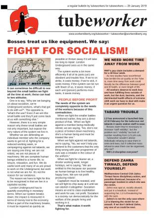 Tubeworker — 29/01/2019: Fight for Socialism!