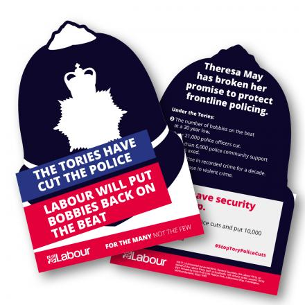 A Labour Party leaflet in the shape of police helmets calling for more police officers