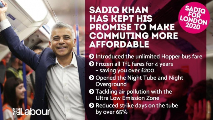 Sadiq Khan's election leaflet for commuters