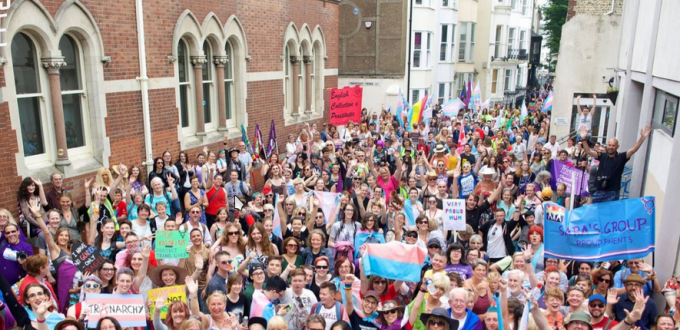 Demonstrating for trans rights in Brighton