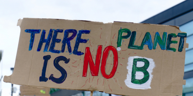 "Placard reading ""There is no Planet B"""
