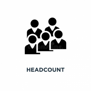"A graphic of several heads-and-shoulders, with a caption reading ""headcount"""