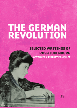 "Pamphlet Cover ""The German Revolution: Selected Writings of Rosa Luxemburg"" on a pink background above a black and white photo of German revolutionary socialist Rosa Luxemburg"