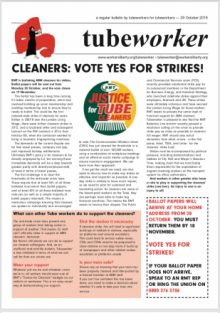Tubeworker — 29/10/2019: Cleaners: Vote Yes for Strikes!
