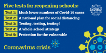Picture of text describing the NEU's five tests for reopening schools.  1. Much lower numbers of Covid-19 cases.  2. A national plan for social distancing.  3. Testing, testing, testing!  4. A whole school strategy.  5. Protection for the vulnerable.