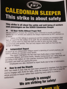 RMT leaflet explaining Sleeper dispute