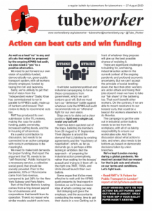 Tubeworker — 27/08/2020: Action Can Stop Cuts and Win Funding