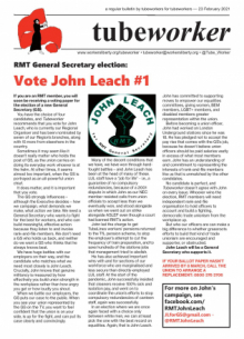Tubeworker — 23/02/2021: Vote John Leach for RMT General Secretary!